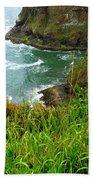 Oregon's Seaside Cliffs In Springtime Beach Towel