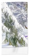 Pine Branch Tree Under Snow Beach Towel
