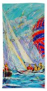 Sail Of Amsterdam II - Tree Sailboats  Beach Towel