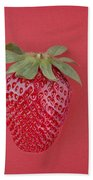 Strawberry In Red I Beach Towel