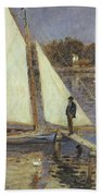 The Seine At Argenteuil Beach Towel by Pierre Auguste Renoir