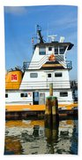 Tug Indian River Is Part Of The Scene At Port Canvaeral Florida Beach Towel