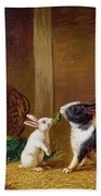 Two Rabbits Beach Towel by H Baert