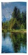 Wyoming Tetons Spruce Mountain Lake. Oil Painting . Beach Towel