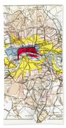 Map Of London, 1881 Beach Towel