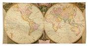 Captain Cook: Map, 1808 Beach Towel