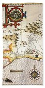 Map: Colonial America, Beach Towel