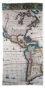 New World Map, 1616 Beach Towel