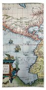 New World Map, 1570 Beach Towel
