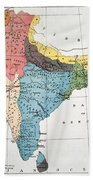 India: Map, 19th Century Beach Towel