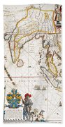South Asia Map, 1662 Beach Towel