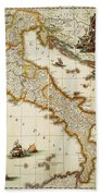 Map Of Italy, 1631 Beach Towel
