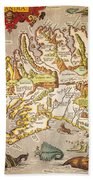 Iceland: Map, 1595 Beach Towel