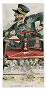 Police Corruption Cartoon Beach Towel
