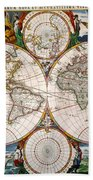 World Map, 17th Century Beach Towel