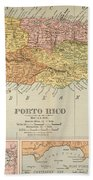 Map: Puerto Rico, 1900 Beach Towel