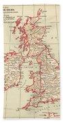 Map: British Isles, C1890 Beach Towel