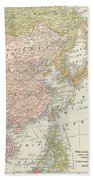 Map: East Asia, 1907 Beach Towel