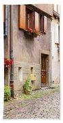Half-timbered House Of Eguisheim, Alsace, France Beach Towel