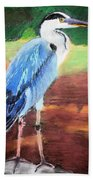 08282016 Female Blue Heron Beach Towel