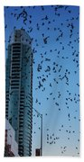 1.5 Million Mexican Free-tail Bats Overtake The Austin Skyline As They Exit The Congress Avenue Bridge Beach Towel