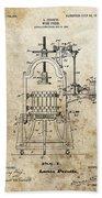 1903 Wine Press Patent Beach Towel