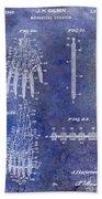 1911 Mechanical Skeleton Patent Blue Beach Towel