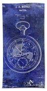 1916 Pocket Watch Patent Blueprint Beach Towel
