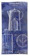 1921 Coffee Pot Patent Beach Towel