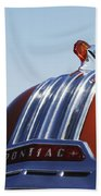 1952 Pontiac Tin Woodie Wagon Hood Ornament Beach Towel