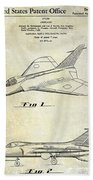 1956 Jet Airplane Patent 2 Blue Beach Towel