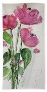 3 Pink Flowers Beach Towel