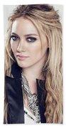83110 Blonde Jacket Sitting Simple Background Hazel Eyes Hilary Duff Women Beach Towel