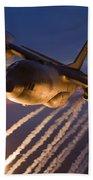 A C-130 Hercules Releases Flares Beach Towel