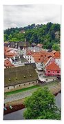 A View Overlooking The Vltava River And Cesky Krumlov In The Czech Republic Beach Towel
