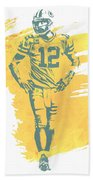 Aaron Rodgers Green Bay Packers Water Color Art 1 Beach Towel