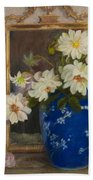 Abbott Graves 1859-1936 Flowers In A Blue Vase Beach Towel