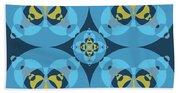 Abstract Mandala Cyan, Dark Blue And Yellow Pattern For Home Decoration Beach Sheet