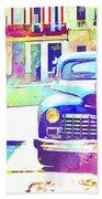 Abstract Watercolor - Havana Cuba Classic Car IIi Beach Towel