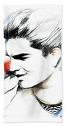 Adam Lambert Beach Towel by Lin Petershagen