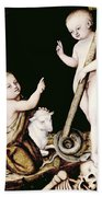 Adoration Of The Child Jesus By St John The Baptist Beach Towel