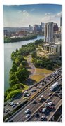 Aerial View Of The Austin Skyline As Rush Hour Traffic Picks Up On I-35 Beach Towel