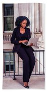African American Businesswoman Working In New York Beach Towel