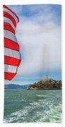 Alcatraz Island With American Flag Beach Towel