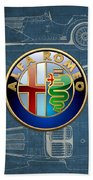 Alfa Romeo 3 D Badge Over 1938 Alfa Romeo 8 C 2900 B Vintage Blueprint Beach Towel