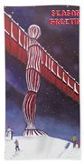 Angel Of The North Christmas Beach Towel