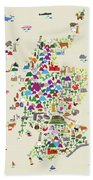 Animal Map Of Scotland For Children And Kids Beach Towel