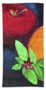 Apple, Orange And Red Basil Beach Towel