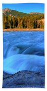 Athabasca Falls In Jasper National Park Beach Towel