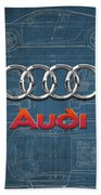 Audi 3 D Badge Over 2016 Audi R 8 Blueprint Beach Towel by Serge Averbukh